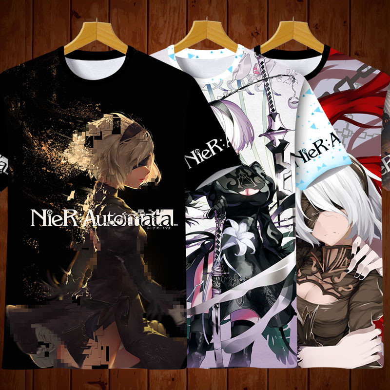 2019 Anime Game Cosplay Clothing Full Color T shirt 2B 9S NieR:Automata Man Women Summer Short Sleeve Tees Top High Quality|T-Shirts| |  - title=
