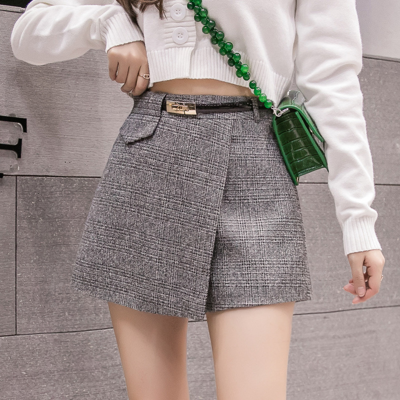 Irregular Woolen Plaid   Shorts   Skirts For Women 2019 Atumn Winter Office   Short   Women Plus Size Booty   Shorts   Feminino