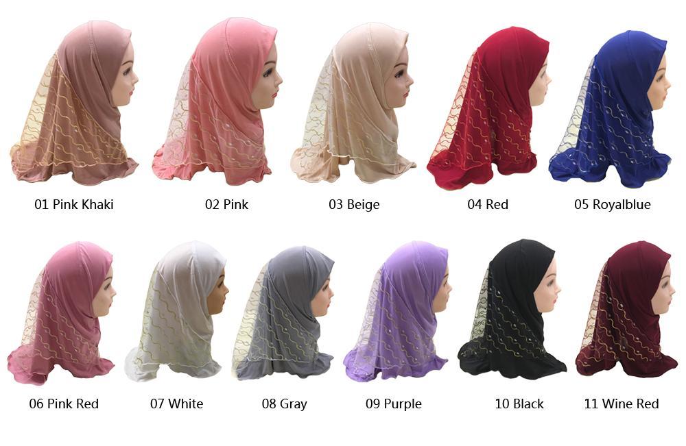 Image 5 - 2019 г. Мусульманский красивый хиджаб для девочек, исламский шарф  в арабском стиле, шали с цветочным узором, платок, Детские шали,  головные уборы, шапки AmiraМусульманская одежда