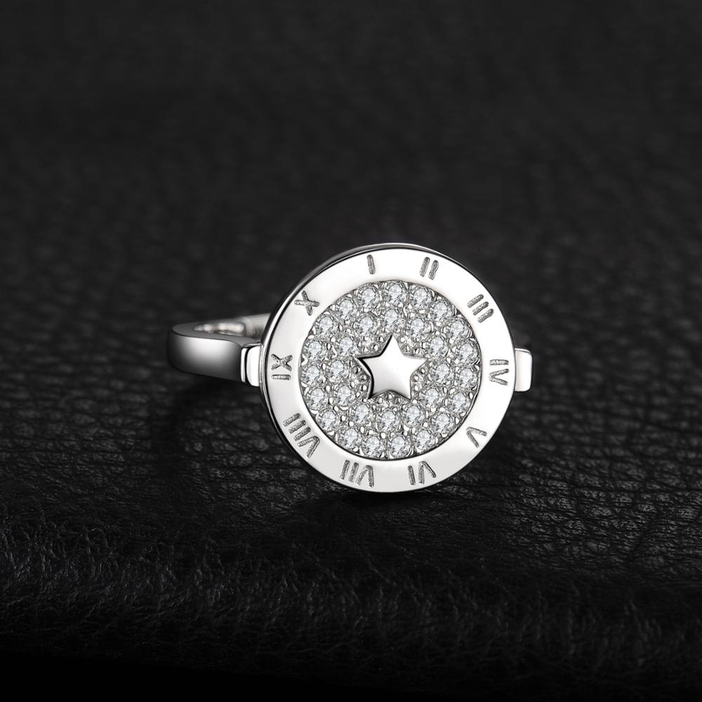 Image 2 - JewelryPalace Round Cubic Zirconia Star Circular Etched Roman  Numeral Adjustable Open Promise Ring 925 Sterling Silver RingsRings