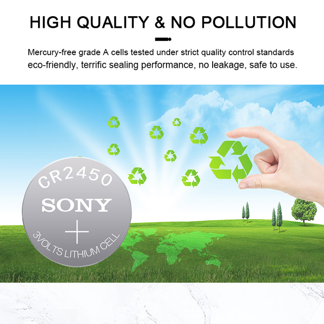 5PCS SONY CR2450 3V CR 2450 DL2050 BR2450 Lithium Button Cell Battery For Remote Control LED tea light vibes Calculators Car 4