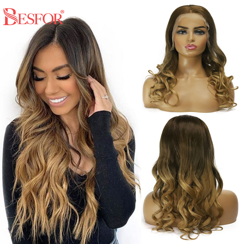 BESFOR Natural Wave 13*6 Lace Front Human Hair Wig Balayage Ombre Color Glueless Pre Plucked Highlights Remy Lace Frontal Wigs