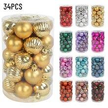 34 unids/caja adorno de Navidad de plástico bolas de Navidad 4cm adorno para árbol de Navidad decoraciones de la Navidad juguetes de Navidad regalo