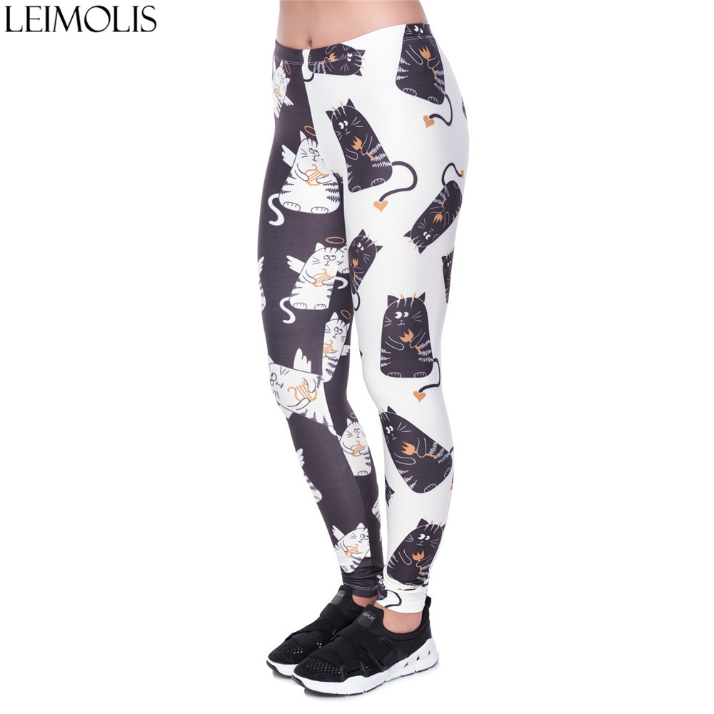 LEIMOLIS <font><b>3D</b></font> print <font><b>Cartoon</b></font> black white Cat fitness push up workout leggings women Harajuku High Waist punk rock <font><b>sexy</b></font> leggins image