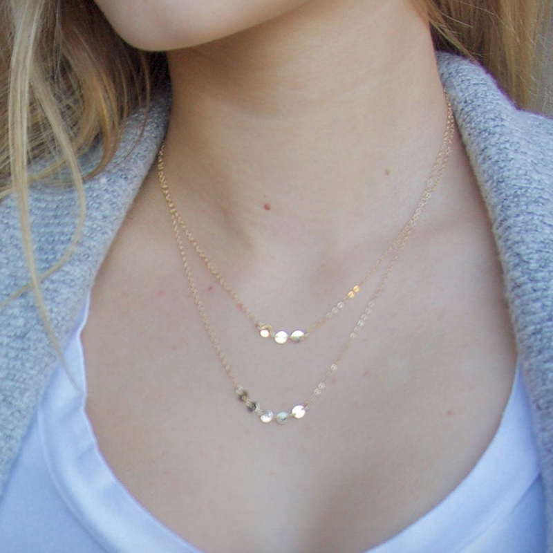 Double Layer Coins Necklace Handmade Choker Real 925 Silver  Pendants Bijoux Collier Femme Kolye Collares Jewelry Necklace