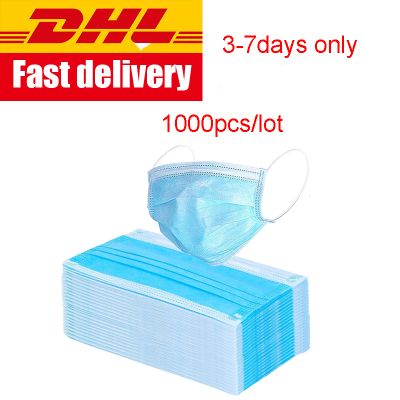 DHL free Disposable 3layers Mask face Prevent Antis  Dust Formaldehy de Bacteria Proof  Face Mouth MaskMasks