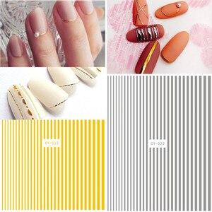 1 лист, розовые, золотые, серебряные, черные 3D наклейки для ногтей, изогнутые полоски, линия, наклейки для ногтей, s клейкая лента, наклейки для...