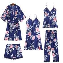 Комплект из 5 предметов женская пижама искусственный шелк атласная