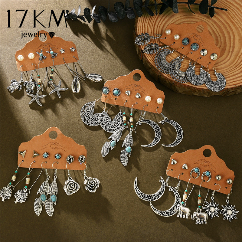 17KM Vintage Boho Flower Moon Earrings For Women Brincos Feather Sun Dangle Earring Set 2020 Fashion Ethnic Earrings Jewelry