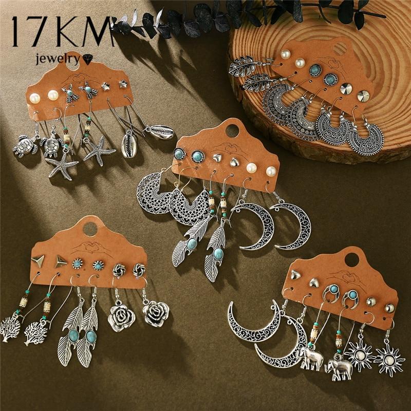 17KM Vintage Boho Flower Moon Earrings For Women Brincos Feather Sun Dangle Earring Set 2020 Fashion Ethnic Earrings Jewelry