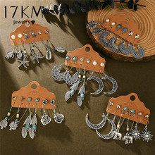 17KM Vintage Boho flor Luna pendientes para las mujeres Brincos pluma sol cuelga pendiente Set 2020 moda étnica pendientes joyería