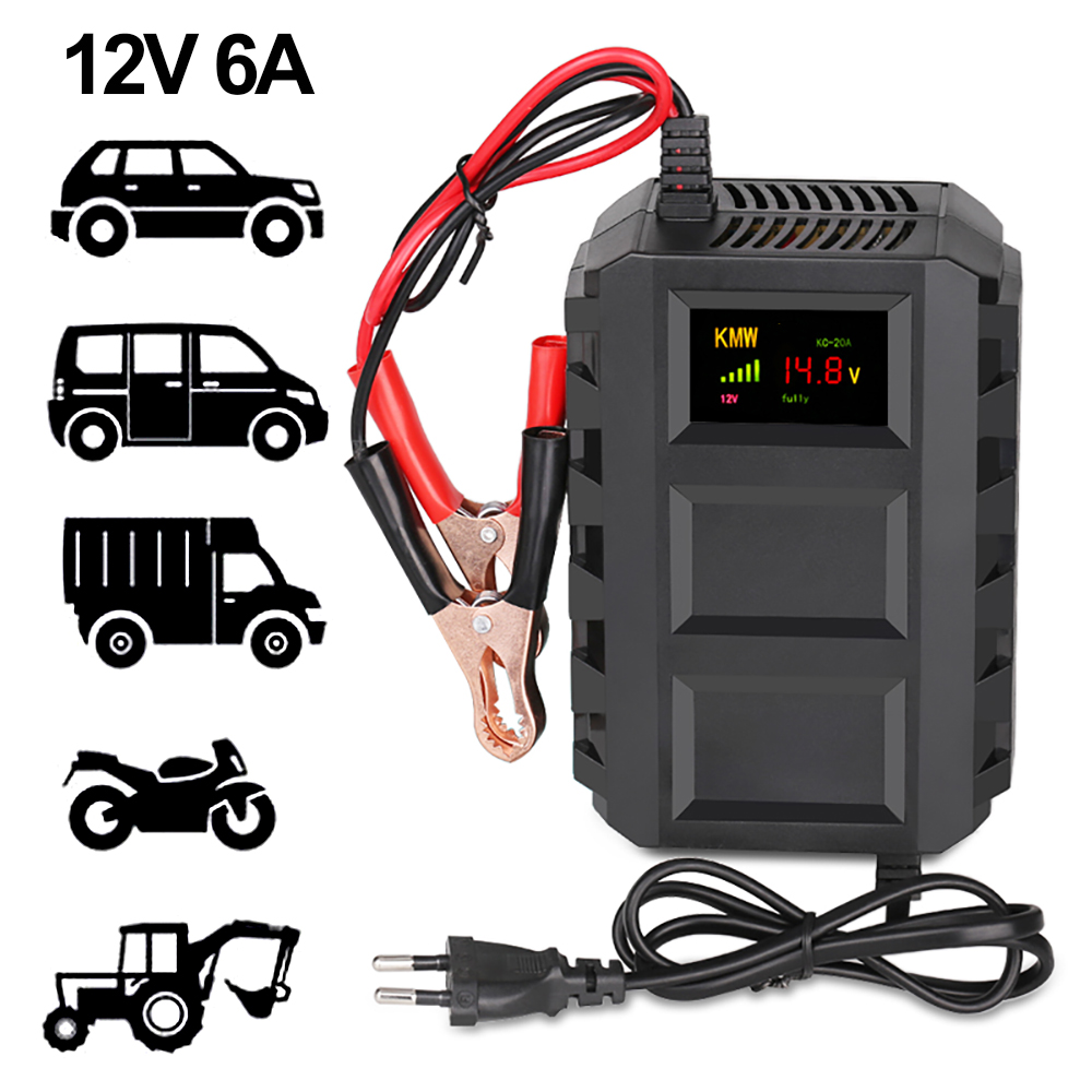 <font><b>Car</b></font> <font><b>Battery</b></font> <font><b>Charger</b></font> ,12V 10A Smart <font><b>Battery</b></font> <font><b>Maintainer</b></font> LCD Display with Multiple Protectors,Crocodile Clip in Pure Copper for <font><b>Car</b></font> image