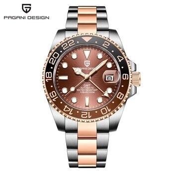 PAGANI DESIGN GMT 40mm Mechanical Wristwatch Men's Top Brand Stainless Steel Sports Waterproof Automatic Watch Relogio Masculino 6