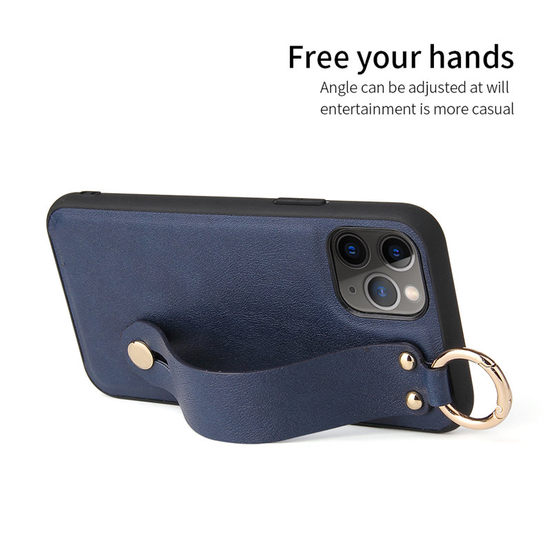 Wrist Strap Stand Holder PU Leather Phone Case For iPhone 12 Mini