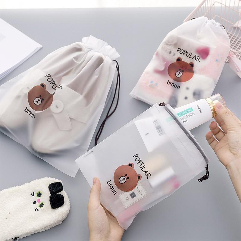 Cute Brown Bear Rope Storage Makeup Case Frosted Beam Pocket Travel Portable Dustproof Waterproof Cosmetic Bag Drawstring Bag