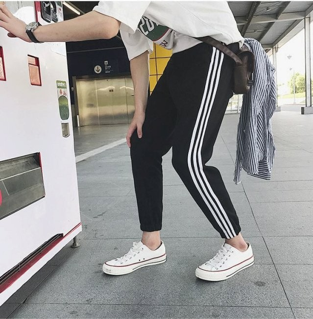 2019 Three Bars Thin Type For Spring And Autumn Casual Pants Gymnastic Pants Men Breathable Knit Casual Pants Running Training P