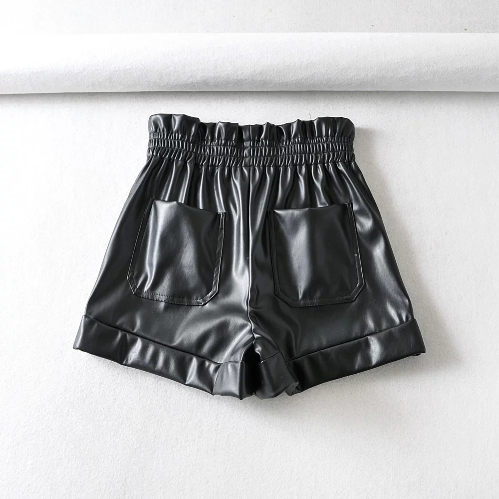 H8e21e48f1b14446d83f7d354cd4ff58fx - Womens zora PU Shorts elastic waist Female pockets loose Shorts faux leather basic solid short Pant faux leather za Short