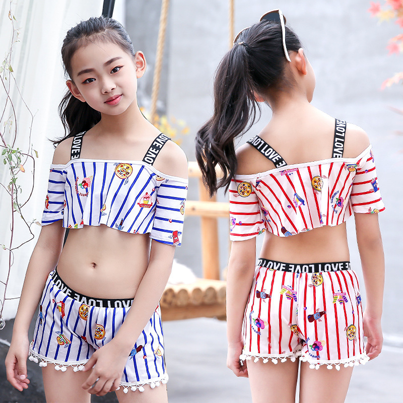 New Style GIRL'S Swimsuit Cute CHILDREN'S Swimwear Split Type Set Big Boy Strapped Dress Pants Hot Springs Swimwear