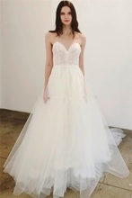 2020 Romantic Lace A Line V-neck Soft Tulle Wedding Dresses Spaghetti Straps Off the Shoulder Sleeveless Bride Wedding Gowns blue adjustable shoulder straps v neck sleeveless lingerie sets