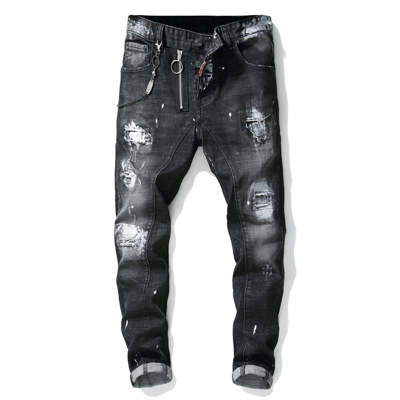 Men's Jeans Trousers Male Jeans Modis Ripped Splice Paint Zipper Jeansmen Clothes Streetwear  Skinny Grey Moto & Biker Jeans