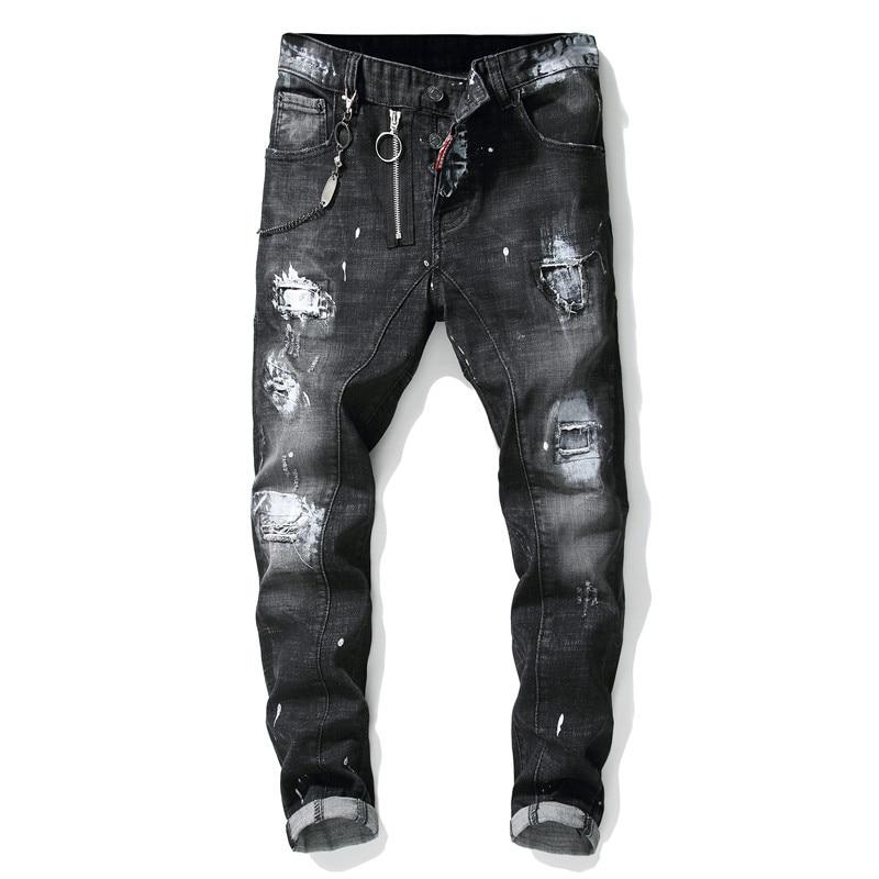 Men's Jeans Trousers Male Jeans Modis Ripped Splice Paint Zipper Jeansmen Clothes Streetwear  Skinny Grey Moto & Biker Jeans
