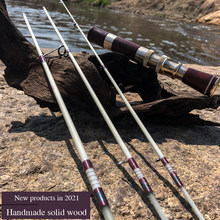 Fiberglass Trout Rod UL Super Soft And Ultra Light 1.55m Four-Section Portable Travel Stream Ejection Fishing Rod Wood Hand-mad