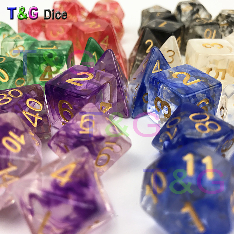New Dice Polyhedral Nebula Blue W White Set Of 7 For D&d Game Plus POUCH BAG D4 D6 D8 D10 D12 D20 Dice Set Gift Toy