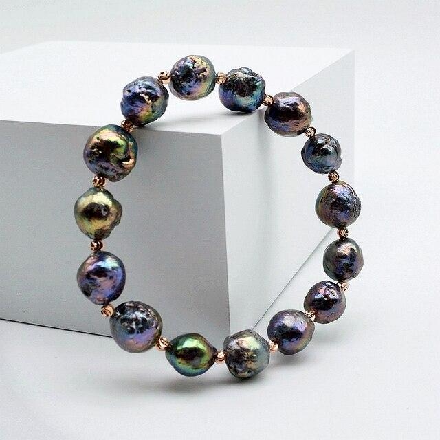 Bracelet perle Baroque, perle noire brillante, diamètre 10-11mm, bracelet élastique, cadeau femme
