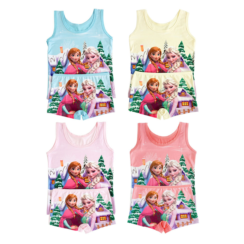 Children Clothes Summer Cartoon Sleeveless T-shirt 3-9T Boys Vest Spiderman Superman T Shirts Boxers Panties Girls Clothes Set