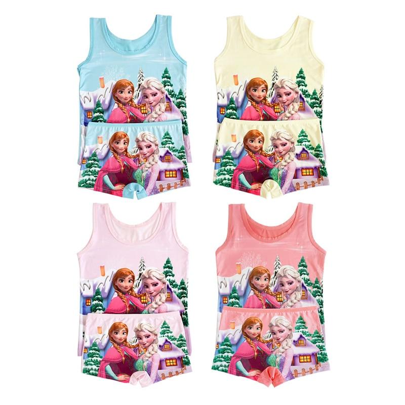 Children Clothes Summer Cartoon Sleeveless T-shirt 3-9T Boys Vest Spiderman Superman T Shirts Boxers Panties Girls Clothes Set