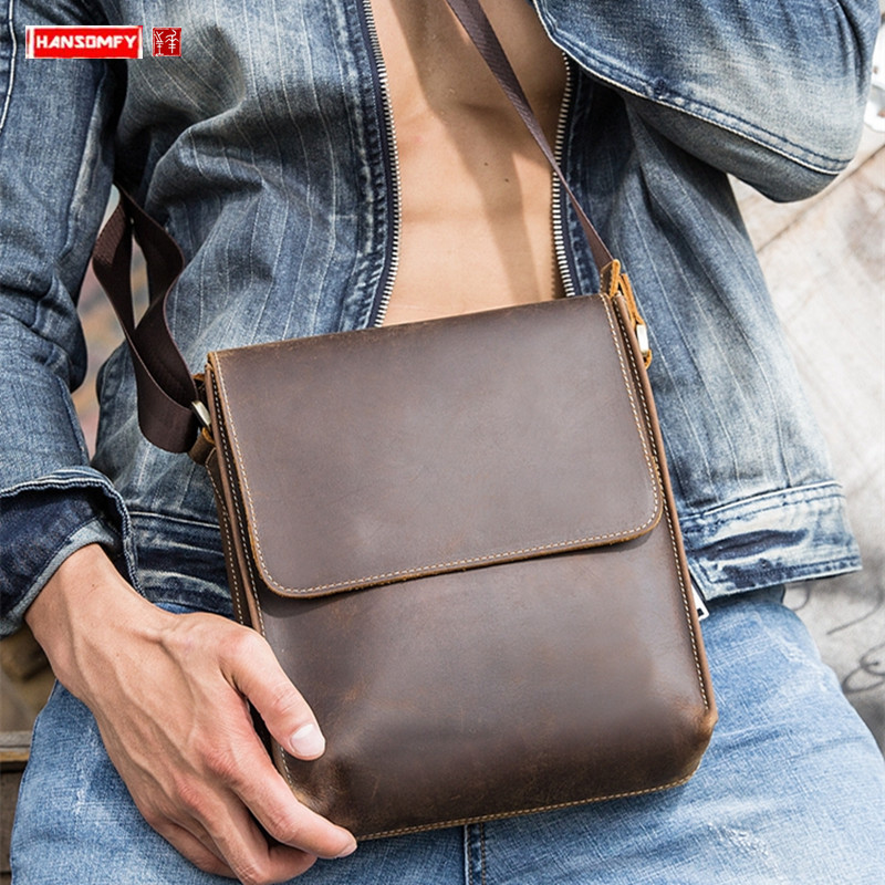Leather men's shoulder bag casual men Messenger bag Crazy horse leather crossbody bag first layer leather male bags