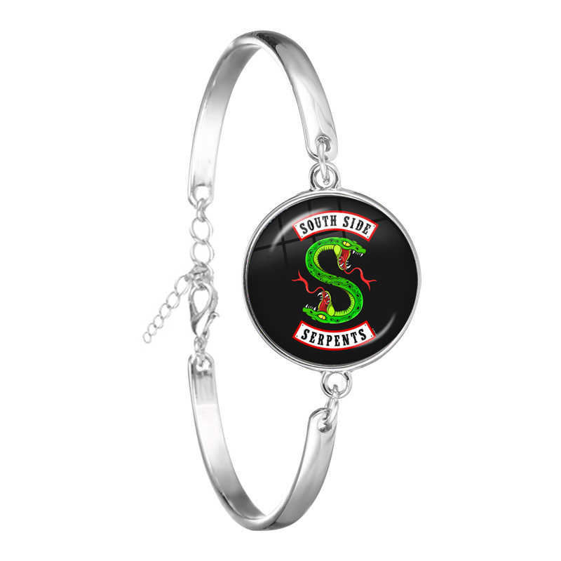 TV Riverdale South Side Serpents Silver Chain Bracelet Jeweley Glass Dome Cabochon Bangle Punk Wristband Accessories Jewelry