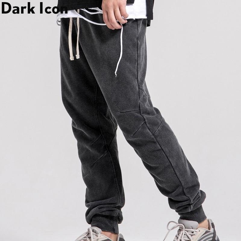 Dark Icon Washing Grey Sweatpants Men Solid Color High Street Mens Pants Jogging