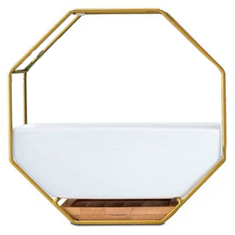 Minimalist Octagonal Geometric Wall Hanging Table Succulents Ceramic Flower Pot Bamboo Tray Iron Frame Set Crafts Gifts