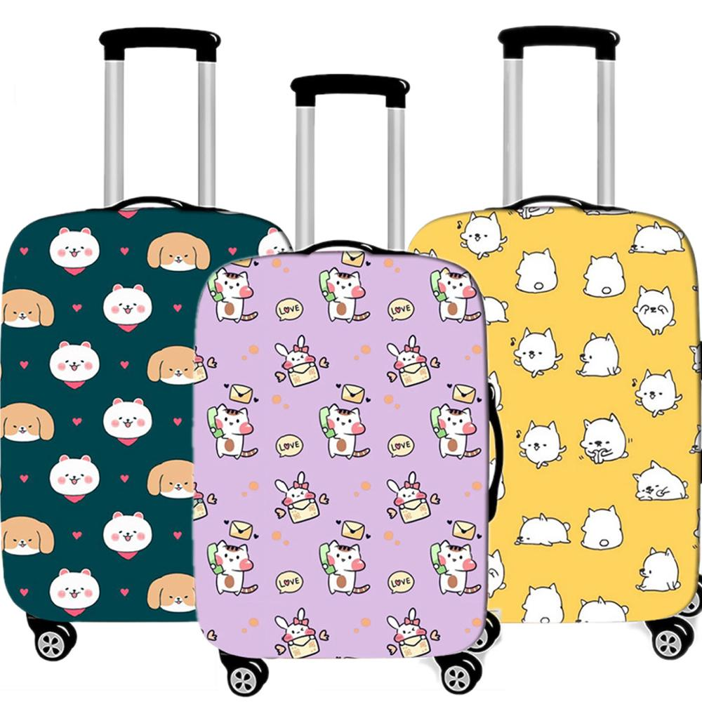 Cute Animal Women Luggage Case Protective Cover Travel Accessories Waterproof Thicken Elastic Suitcase Trunk Case 18-32 Inch XL