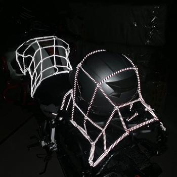 40x40cm odbicie motocykl sieć ładunkowa motocykl ATV organizator bagażowy netto tanie i dobre opinie Reflective Motorbike Helmet Mesh Storage net Reflective Motorcycle Helmet Bungee Luggage net