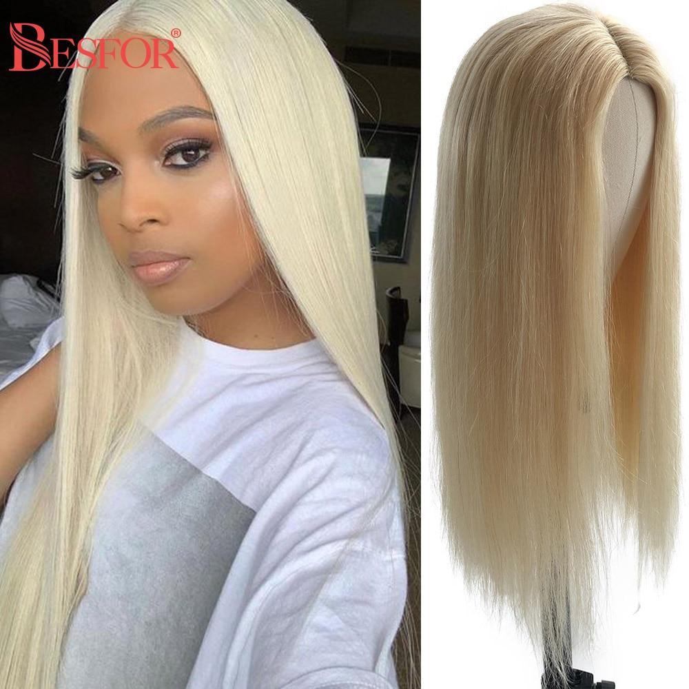Парики блонд без шнуровки спереди для черных женщин, предварительно выщипанные, без клея, длинные, шелковистые, прямые, Remy, 613 человеческие в...