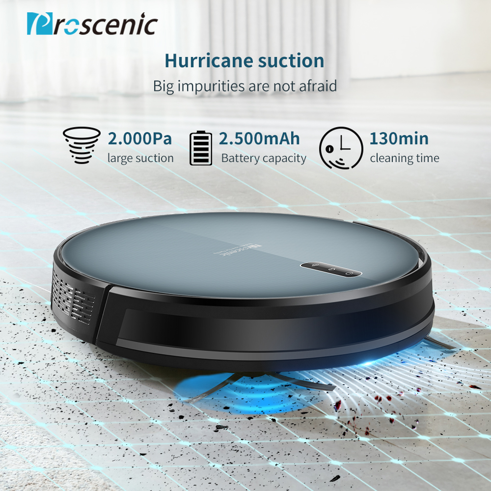 Proscenic 830P Robot Vacuum Cleaner 2000PA Vacuum Sweep Mop Clean 3in1 600ML Dust Box For Home Pets Hair Carpets And Hard Floors - 2