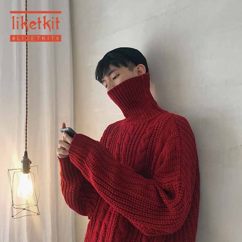 Liketkit Men's Sweater Turtleneck Winter 2019 Mens Solid Color Harajuku Thick Pullovers Male Korean Fashion Streetwear Sweaters