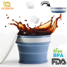 170/270/350ml Folding Silicone Portable Telescopic Drinking Collapsible coffee cup folding silica with Lids Travel