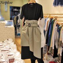 Neploe coreano duas peças vestidos femininos manga curta retalhos nova moda vestido o pescoço 2021 verão novo design vestido 68404