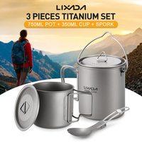 Lixada Titanium 3Pcs/Set 750ml Pot 420ml Water Cup Mug with Lid Collapsible Handle Folding Spork for Outdoor Camping Hiking