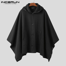 Men Coats Hooded Streetwear Loose Casual Button Cloak Irregular Trench Solid Pockets Stylish Men Poncho Jackets INCERUN S-5XL