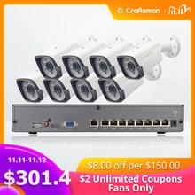 8ch 5MP POE Kit H.265 System CCTV Security Smart NVR Outdoor Waterproof IP Camera Surveillance Alarm Video P2P G.Craftsman