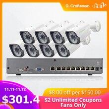 Kit POE de 8 canales y 5MP sistema H.265, seguridad CCTV NVR inteligente para exteriores, cámara IP impermeable, alarma de vigilancia, vídeo P2P G.CraftsmanSistema de vigilancia