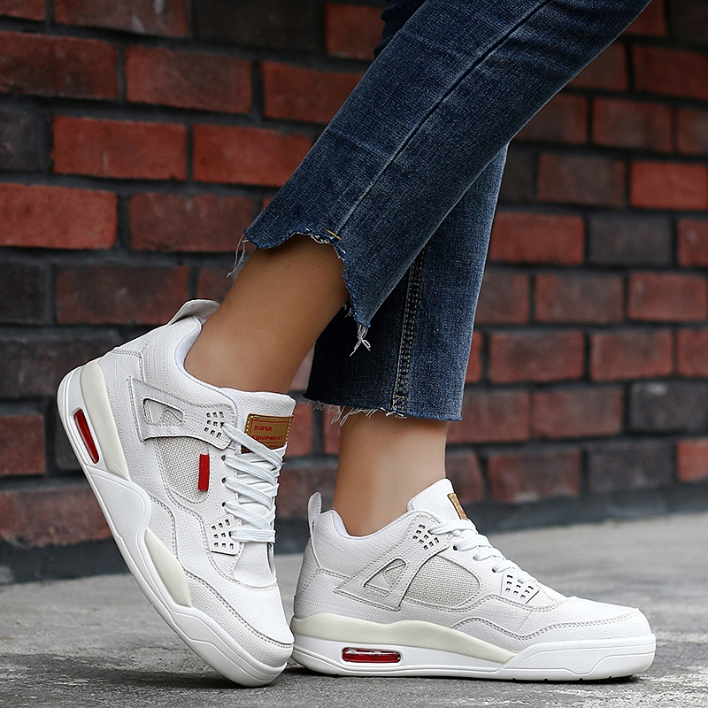 Women <font><b>Jordan</b></font> <font><b>4</b></font> Basketball Shoes White Jean Breathable Sport Sneakers Casual Platform <font><b>Air</b></font> Bounce <font><b>Jordan</b></font> <font><b>Retro</b></font> Basketball Sneakers image