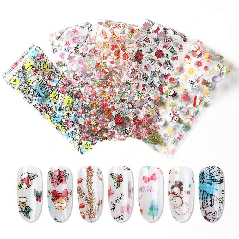 10pcs Christmas Decorations for Nails Mix Colorful Transfer Nail Foil Sticker Snow Flower Elk Gift Santa Adhesive Paper YXL287