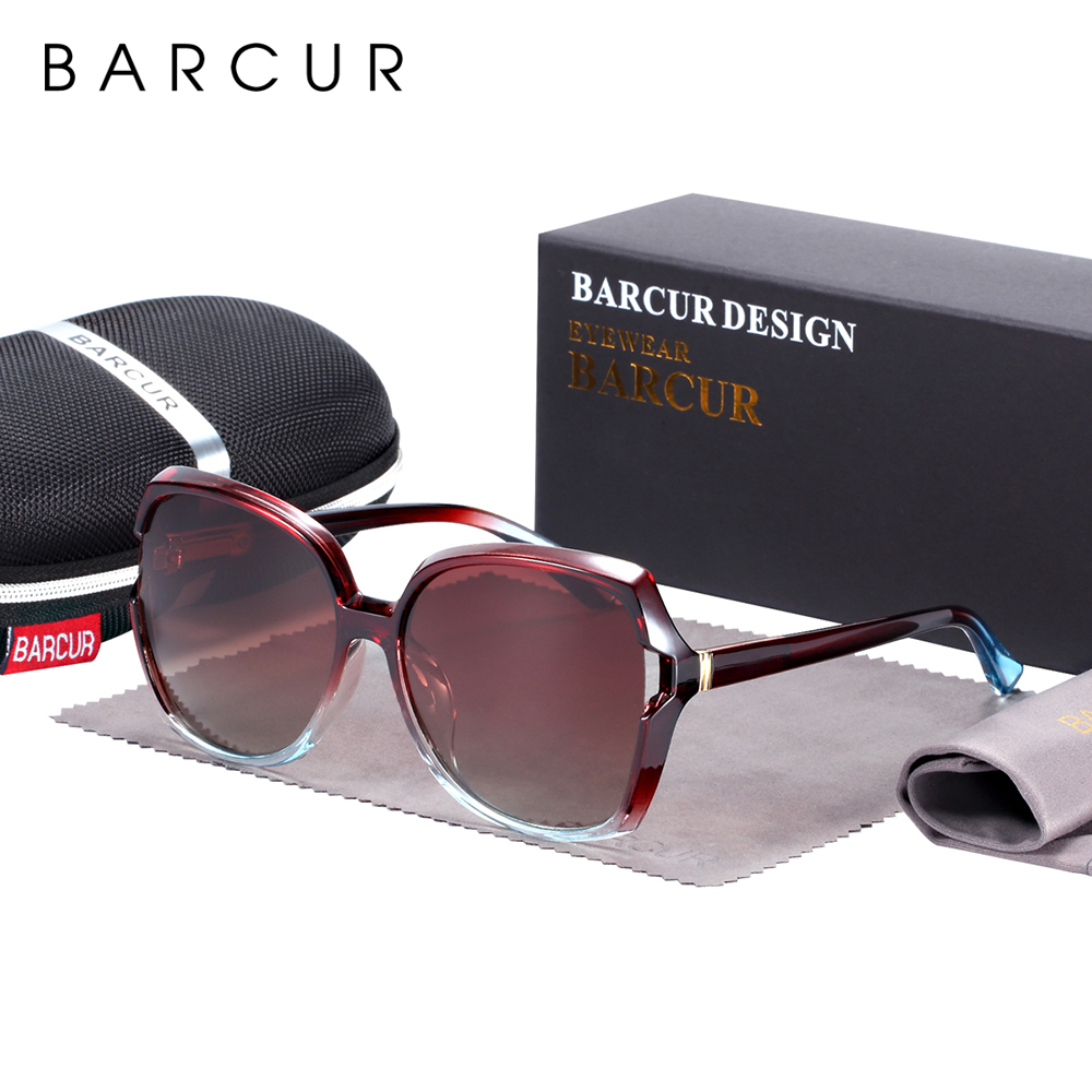 BARCUR Oversize TR90 Sunglasses Women Polarized UV400  Sunglasses Ladies Shades With Gradient Lens Lunette De Soleil Femme