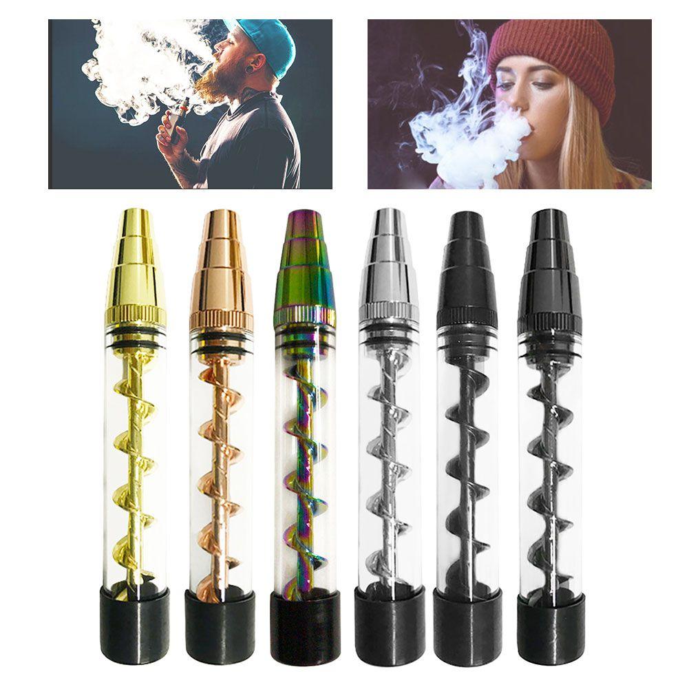 Portable Smoking Pipe Metal Tip Glass Twisty Dry Herb Atomizer Spiral Orbit Tobacco Smoke Pipe Grinder Weed Drop shipping 1