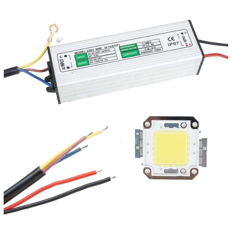 50W LED Driver Waterproof IP67 Power Supply High Power Adapter + 50W LED Chip Bulb Energy Saving For DIY Daylight